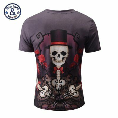Mr.Bao Long&Miss.GO Men Short Sleeve V-Neck Flower Skeleton Printed Shirt GT