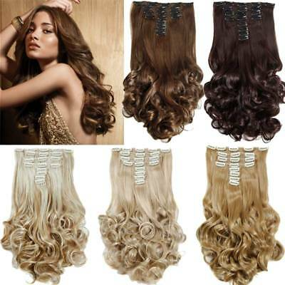 20'' Clip in Hair Extension Afro Curly Wavy Synthetic Omber Color Hair Extension