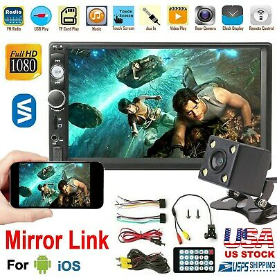 🔥7'' 2Din Touch Screen Car MP5 Player Stereo FM Radio With Free HD Rear Camera