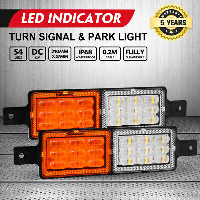 2 X LED Front Indicator Park Clear Amber Light Lamp for Arb Bullar Submersible