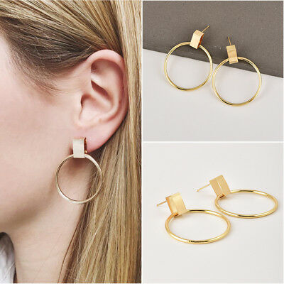 2018 Fashion Women Gold Round Large Circle Hoops Ear Stud Earrings Jewelry Gifts