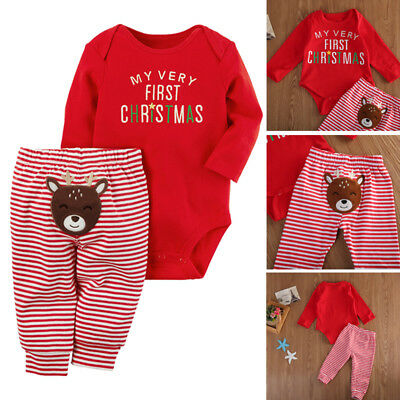 My First Christmas Newborn Baby Boy Girl Tops Romper+Pants Outfit Pajamas Set US