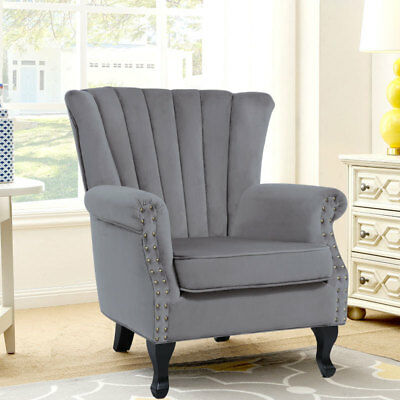 Victorian Grey Wing Back Armchair Lounge Chair Living Bedroom Fireside Relaxing
