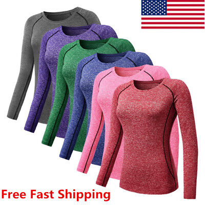 Women Girl Athletic Sports Compression T-Shirt Long Sleeve Jogging Shirt Top Tee