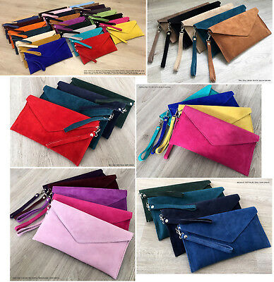 Womens Evening Bags Envelope Clutch Genuine Real Suede Leather Cross Body Italy