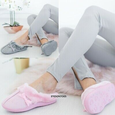 Ladies Womens Slip On Fleece Soft Wide Fit Warm Winter Mules Slippers Shoes Size