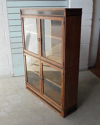Antique Vintage Oak Esavian Esa Sectional Glazed Bookcase Library School Office