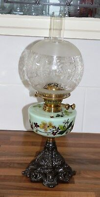 Victorian Cast Iron Base Oil Lamp with Painted Green Glass Fount