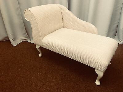 "41"" Small Chaise Longue Lounge Sofa Seat Chair Cream Brick Fabric Queen Anne UK"