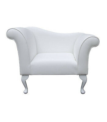 "37"" Small Chaise Longue Lounge Seat Armchair Arm Chair White Faux Leather"