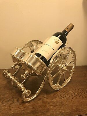 Silver Plate Double Wine Bottle Carriage.