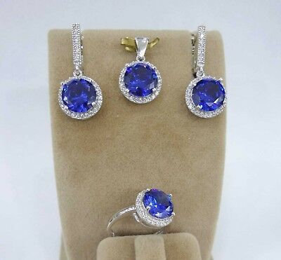 925 Sterling Silver AAA Quality Jewelry Blue Sapphire Ladie's Set