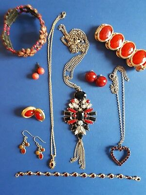 VGC Job Lot Of 10 Assorted Red Tone Jewellery NON Broken Ideal For Resale #21