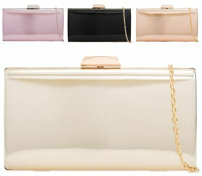 Women's New Hard Compact Faux Patent Leather Evening Clutch Bag Purse