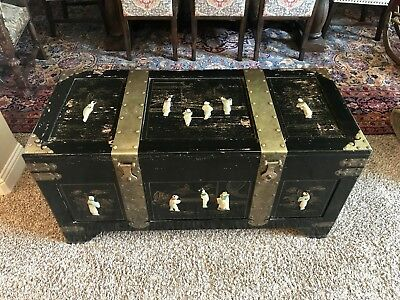 Vintage Asian Chinese Black Lacquered Cedar Wood Trunk Chest Onyx Inlaid  Design