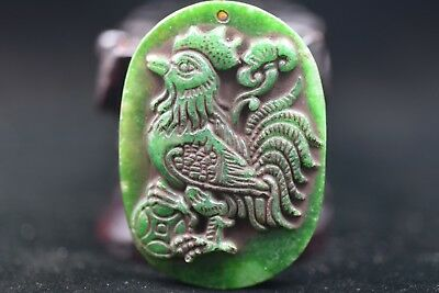 Antique Chinese Hand carved aristocratic wearing Jadeite jade pendant S250
