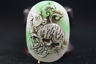 Antique Chinese Hand carved aristocratic wearing Jadeite jade pendant S252