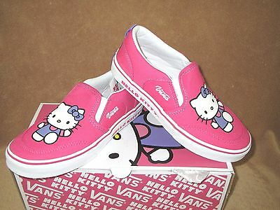 NEW VANS ASHER Slip On Hello Kitty Shoe Magenta white Youth 2.5Y ... 30e223761