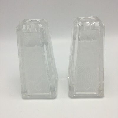 Partylite Chrysanthemum Tapers Candle Holders Vase Frosted Glass Heavy Crystal