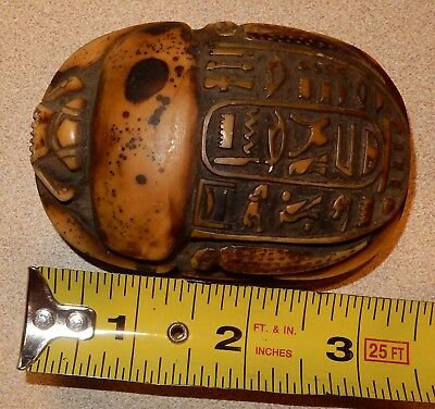 Vintage Egyptian Scarab Beetle Paperweight with Hieroglyphics Egypt