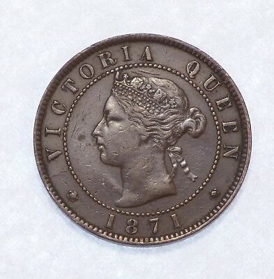 1871 CANADA Prince Edward Island Queen Victoria Large Cent EXTRA FINE 1c