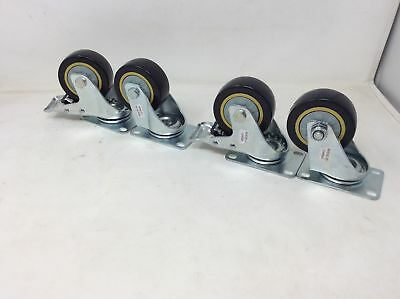 """(Closeout) ABN Swivel Plate Caster Wheels 3"""" Set of 4 Locking Casters"""