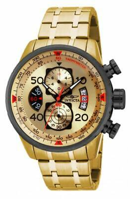 Invicta 17205 Mens Aviator Chrono Gold Tone Dial Gold Tone Steel Bracelet Watch