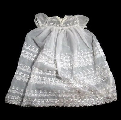 Vintage Baby White Lace Dress Baptismal Gown Infant Christening Sheer