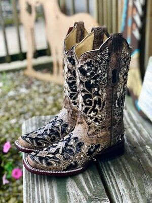 15d204be7186 Corral Women's Bone & Black Sequin Floral Inlay Square Toe Western Boots  A3648