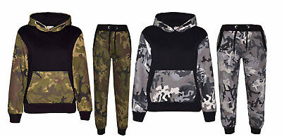 Kids Boys/Girls Camouflage Fleece Tracksuit Warm Winter Sport Hooded Jacket 7-13