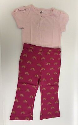 Old Navy Baby Girl Outfit Set 18-24 Months Pink Rainbow Leggings And Bodysuit