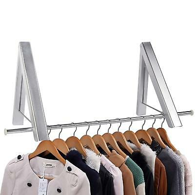 Pack of 2 Aluminum Folding Wall Clothes Hanger Space Saver Wall Rack with Pole