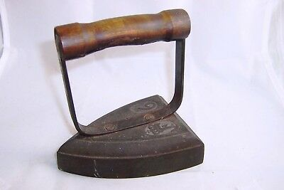 ANTIQUE CAST FLAT/SAD IRON with WOODEN HANDLE - SIZE 6 - by ANK.H.- Rare