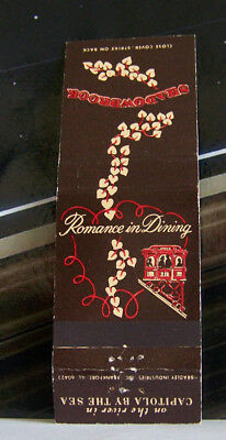 Rare Vintage Matchbook Cover J2 Capitola California Romance In Dining By The Sea
