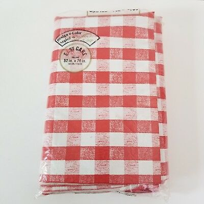 """Very Large Vintage Red & White Check vinyl Tablecloth 1960s by Lisa 52""""x70"""""""