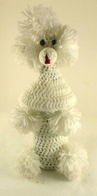 Vintage White Hand Crocheted Poodle Dog Cover For Wine Bottle