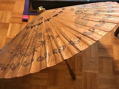 Antique Parasol Umbrella Huge Asian Large Bamboo & Rice Paper Chinese Dragons