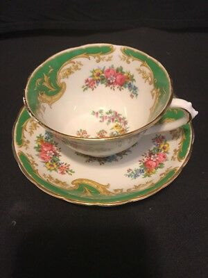"""Tuscan England Fine Bone China Demitasse Cup and Saucer Naples """" Green """""""