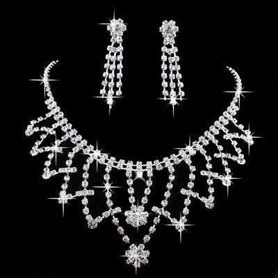Pearl Crystal Rhinestone Necklace Earring Prom Wedding Bridal Party Jewelry Sets