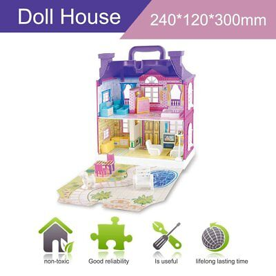 Doll House With Furniture Miniature House Dollhouse Assembling Toys For Kids UK3