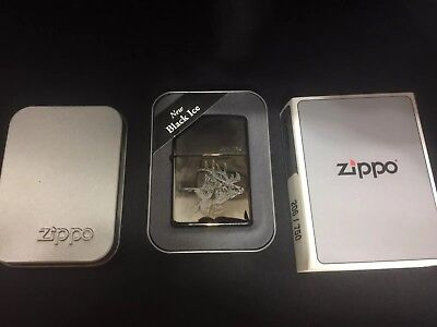 Rare Black Ice  Elk Zippo Lighter  206/750 Mint In Box 2001