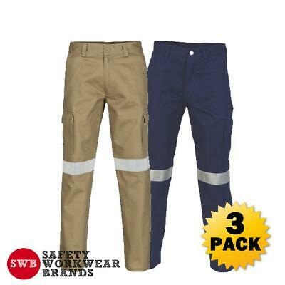 3 x DNC Workwear Mens Cotton Drill Cargo Pants 3M Reflective Tape Tradie 3319