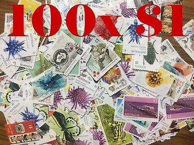 100 x $1 OFF PAPER used unfranked uncancelled Stamps FV $100 Free Postage