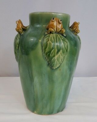 Sculpted Frog Vase Asian Inspired Green Glaze Lily Pad Hand Painted marked base