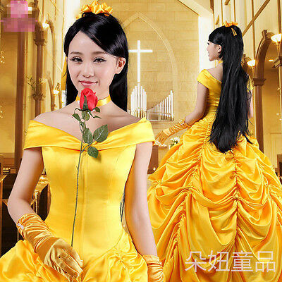 Beauty and The Beast Adult Princess Belle Costume Halloween Dress Party