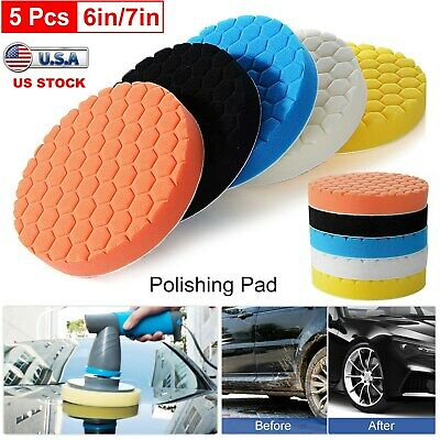 "5Pack Car Polisher 6""/7"" inch Sponge Polishing Waxing Buffing Pads Kit Compound"