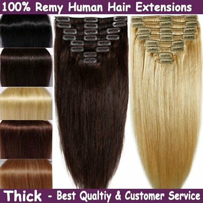 Real Clip in Remy Human Hair Extensions Mega THICK Brown Blonde Full Head  GT
