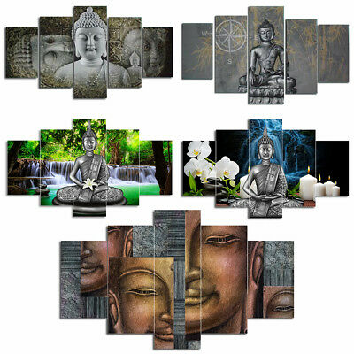 Quintuplet Unframed Modern Style Buddha Oil Painting Canvas Wall Art  Picture
