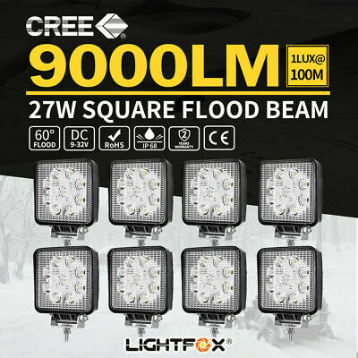 8x 27W CREE LED Work Lights Flood Off Road 4x4 Truck Boat 12V 24V Reverse Lamp