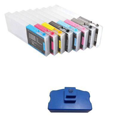 Empty Refillable Ink Cartridge 300ml 8pcs Epson Stylus Pro 4000 + Chip Resetter